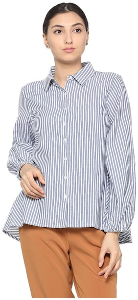 Allen Solly Women Regular Fit Striped Shirt - Blue
