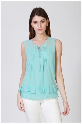 Allen Solly Polyester Blue Solid Regular Fit Casual Top