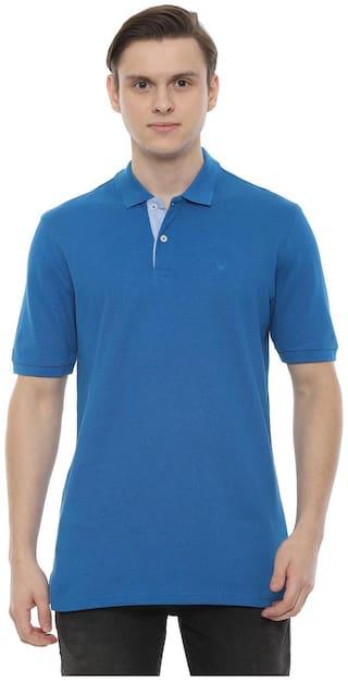 Allen Solly Men Blue Regular fit Polyester Polo collar T-Shirt - Pack Of 1