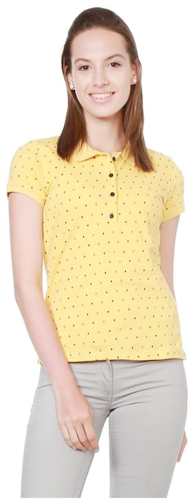 Allen Solly Solid Yellow T Shirt