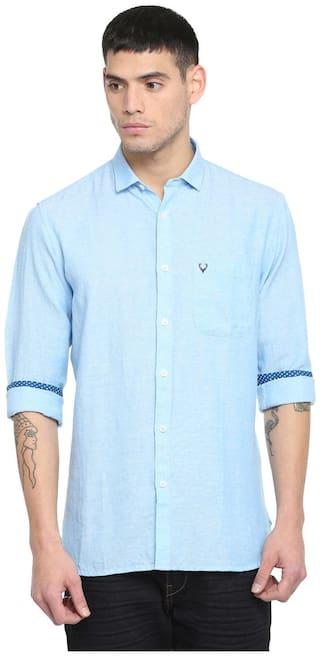 Allen Solly Men Blue Weaved Slim Fit Casual Shirt