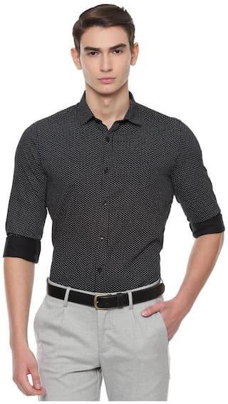 Allen Solly Men Black Polka Dots Slim Fit Casual Shirt