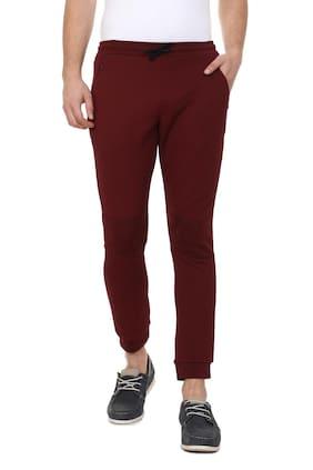 Allen Solly Men Polyester Track Pants - Maroon