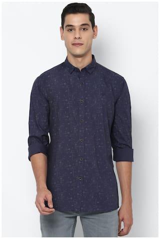 Allen Solly Men Navy Blue Printed Regular Fit Casual Shirt