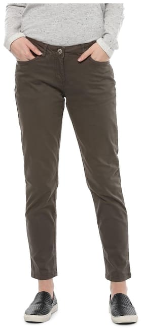 Allen Solly Women Straight Fit Mid Rise Solid Pants - Brown