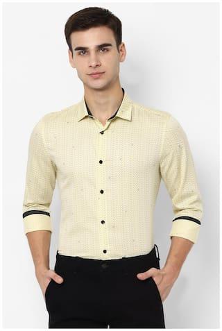Allen Solly Men Yellow Printed Slim Fit Casual Shirt