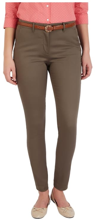 Allen Solly Blended Regular Beige Formal Trouser