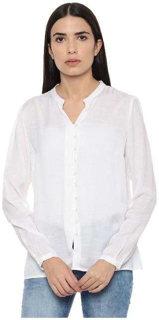 Allen Solly Women White Striped Regular Fit Shirt
