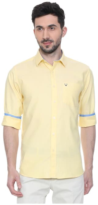 Allen Solly Men Yellow Solid Slim Fit Casual Shirt