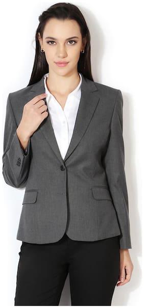 Allen Solly Women Regular Fit Blazer - Grey