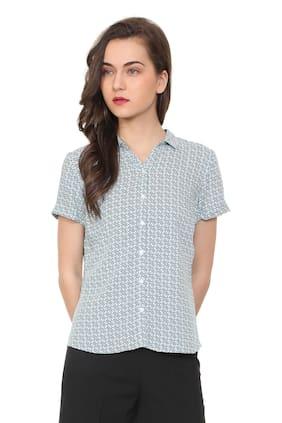 Allen Solly Women Regular Fit Printed Shirt - Green
