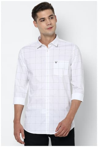 Allen Solly Men White Checked Slim Fit Casual Shirt