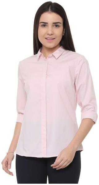 Allen Solly Women Regular Fit Self Design Shirt - Pink