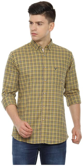 Allen Solly Men Yellow Checked Slim Fit Casual Shirt