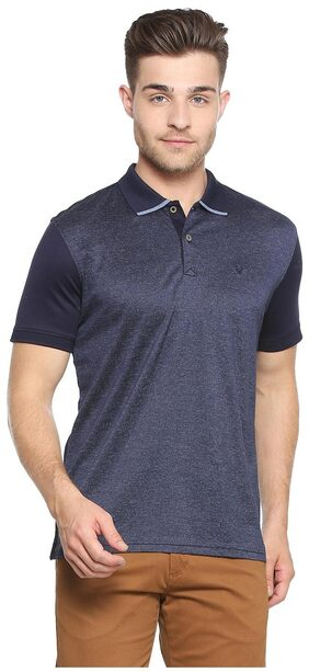 Allen Solly Men Regular Fit Polo Neck Self Design T-Shirt - Blue