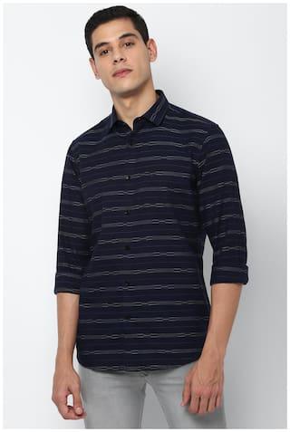 Allen Solly Men Navy Blue Vertical Stripes Slim Fit Casual Shirt