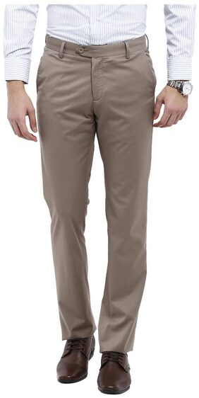 Allen Solly Brown Cotton Blend Comfort Fit Formal Trouser