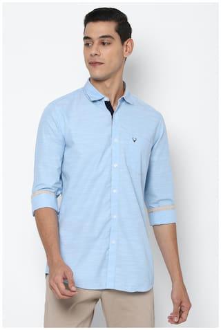 Allen Solly Men Blue Textured Slim Fit Casual Shirt