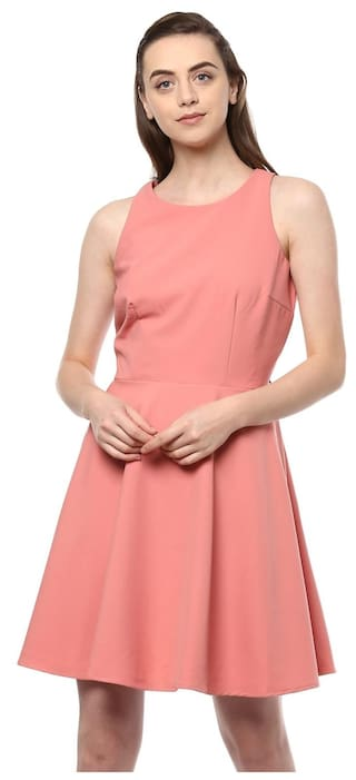 a0d5cdb61099 Buy Allen Solly Polyester Solid Bodycon Dress Pink Online at Low ...