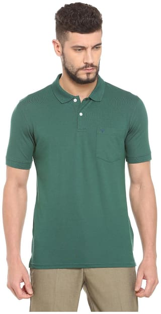 Allen Solly Men Regular fit Polo neck Self design T-Shirt - Green