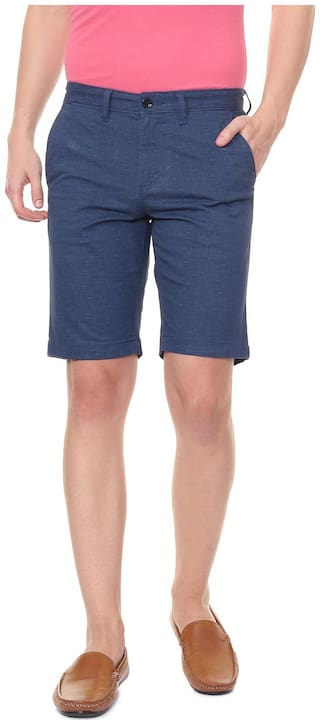Allen Solly Men Blue Slim Fit Regular Shorts