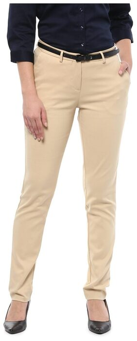 Allen Solly Women Straight Fit Mid Rise Solid Pants - Beige
