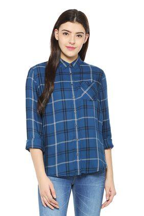 Allen Solly Women Regular Fit Checked Shirt - Blue