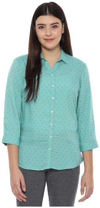 Allen Solly Women Green Printed Regular Fit Shirt