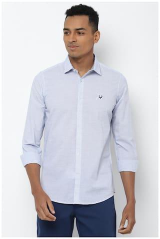 Allen Solly Men Blue Solid Super Slim Fit Casual Shirt