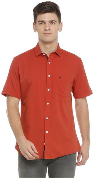 Allen Solly Men Red Solid Regular Fit Casual Shirt