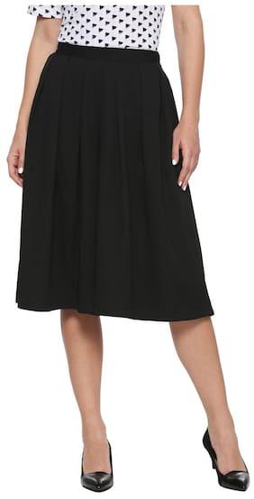 Allen Solly Solid A-line Skirt Midi Skirt - Black