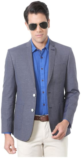 93a70841a Allen Solly Greyish Blue Wimbledon Poly Viscose Blend Single Breasted - 2  button Blazer