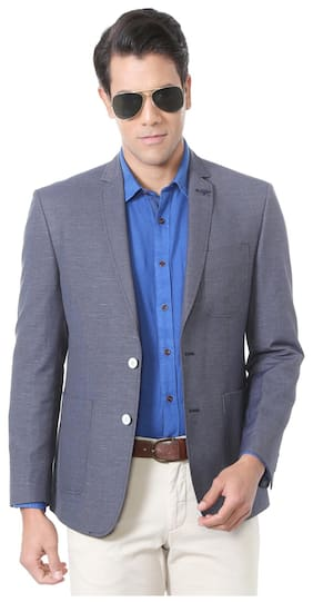 5f5a7539565c Allen Solly Greyish Blue Wimbledon Poly Viscose Blend Single Breasted - 2  button Blazer