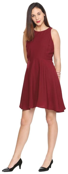 Allen Solly Polyester Solid A-line Dress Maroon