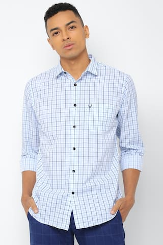 Allen Solly Men Blue Checked Slim Fit Casual Shirt