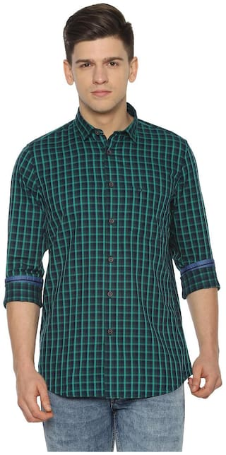 Allen Solly Men Green Checked Slim Fit Casual Shirt