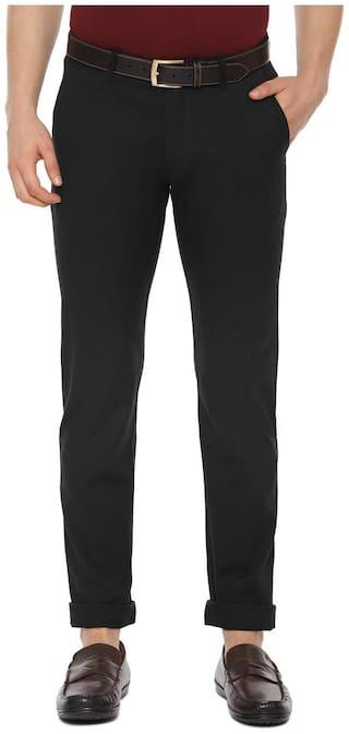 Allen Solly Men Black Solid Slim fit Regular trousers