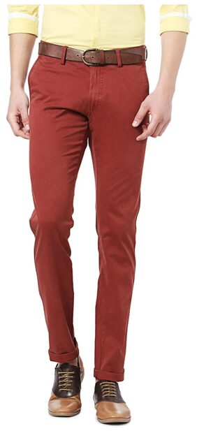 Allen Solly Cotton Slim Red Casual Casual Trouser