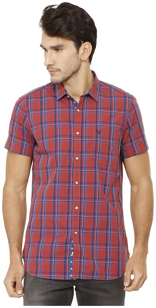 Allen Solly Men Red Checked Slim Fit Casual Shirt