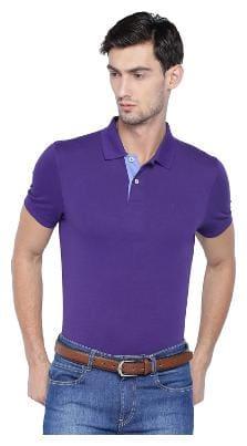 Allen Solly Men Blue Regular fit Cotton Blend Polo collar T-Shirt - Pack Of 1