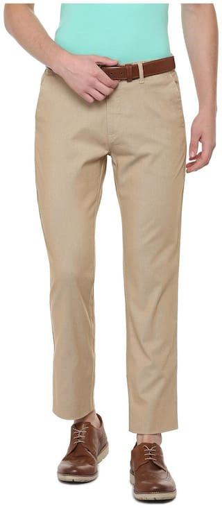 Allen Solly Men Beige Textured Regular fit Regular trousers