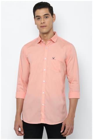 Allen Solly Men Peach Solid Slim Fit Casual Shirt