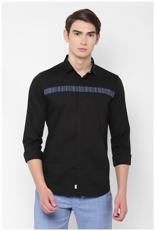 Allen Solly Men Black Solid Slim Fit Casual Shirt