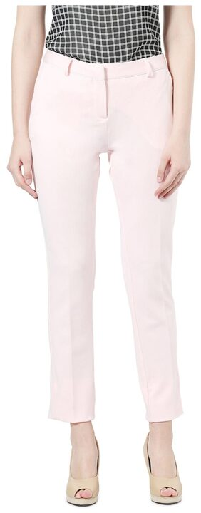Allen Solly Polyester Regular Fit Pink Formal Trouser