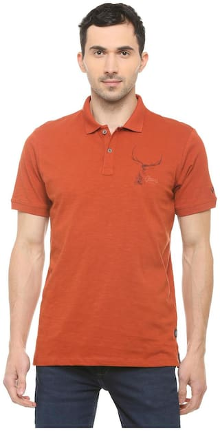 Allen Solly Men Regular fit Polo neck Solid T-Shirt - Brown