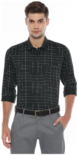 Allen Solly Men Black Printed Slim Fit Casual Shirt