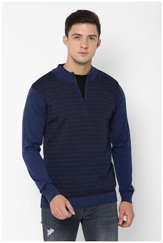 Allen Solly Men Blended  Front-Open Sweater Blue