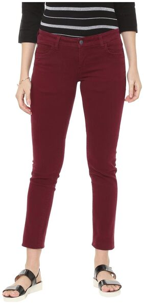 Allen Solly Women Slim Fit Mid Rise Washed Jeans - Maroon
