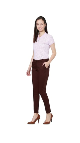Allen Solly Maroon Trousers