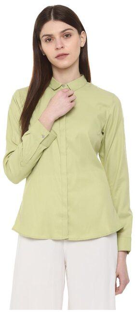 Allen Solly Women Regular Fit Solid Shirt - Green